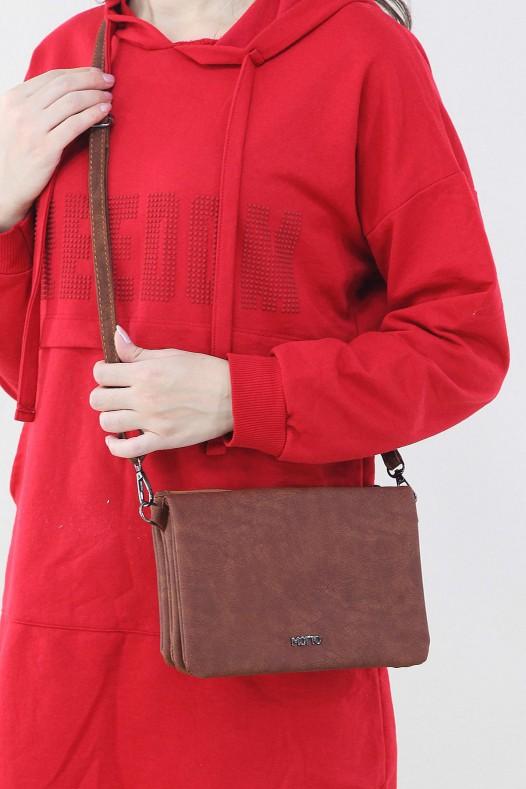Taba Kadın Çapraz Askılı Çanta Cüzdan Suni Deri Çok Gözlü Bölmeli Mıknatıslı Kapak İçi Astarlı 5231