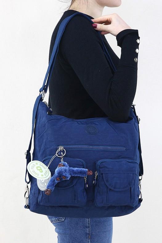 Lacivert Kadın Omuz ve Sırt Çantası Su Geçirmez Paraşüt Kumaş Çok Gözlü Bölmeli Fermuarlı 5259